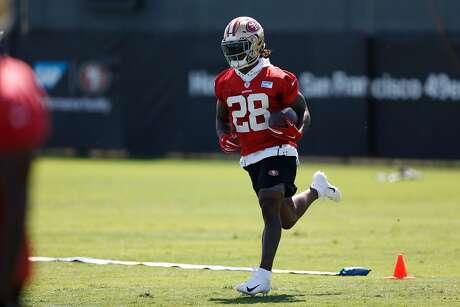 49ers running back Jerick McKinnon practices at training camp at Levi's Stadium on Thursday, July 26, 2018 in Santa Clara, Calif.