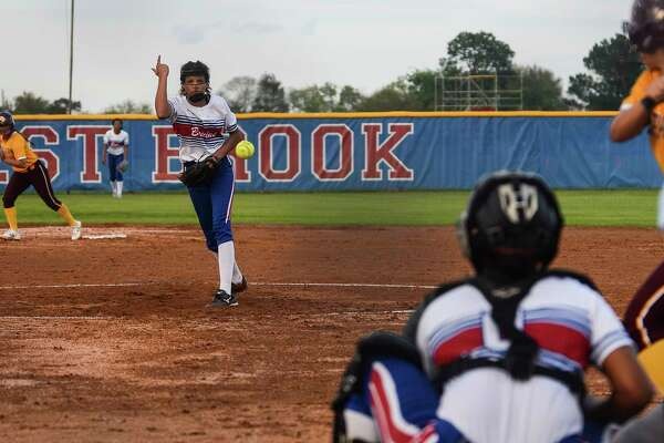 West Brook's Jada Montgomery pitches during a game against Deer Park at West Brook on Monday. Photo taken on Monday, 03/25/19. Ryan Welch/The Enterprise