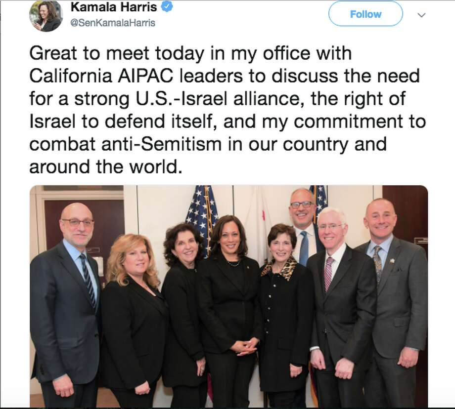 Kamala Harris drew fire from progressives after meeting with California AIPAC leaders in her Senate office. Click ahead to see reactions. Photo: Twitter