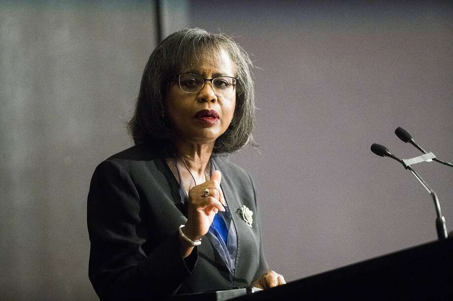 "Anita Hill, an attorney, academic and activist lectures at the Rice University's Baker Institute for Public Policy about the #MeToo movement on Monday, March 25, 2019, in Houston. Former Vice President Joe Biden called Anita Hill this month to express his regret over ""what she endured"" testifying against Justice Clarence Thomas at the 1991 Supreme Court hearings that put a spotlight on sexual harassment of women, according to a spokeswoman for Biden. Photo: Marie D. De Jesús, Staff Photographer"