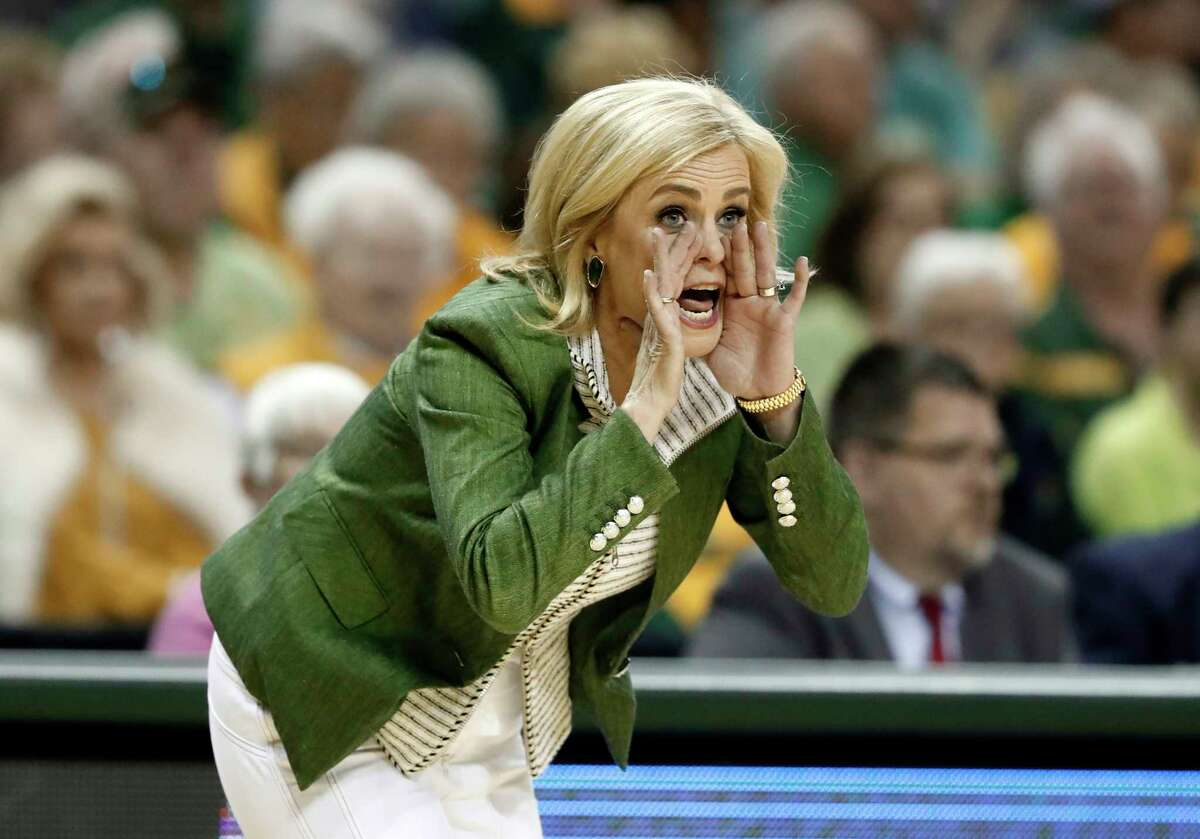 Baylor head coach Kim Mulkey instructs her team in the first half of a second-round game against California in the NCAA women's college basketball tournament in Waco, Texas, Monday, March 25, 2019.