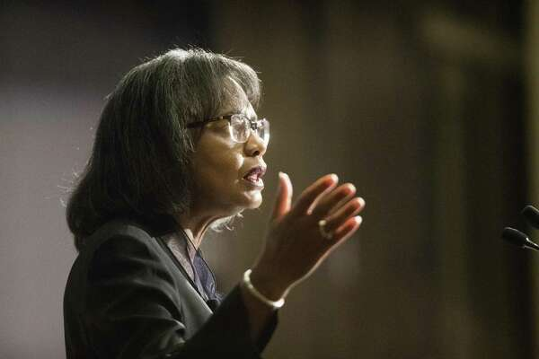 Anita Hill, an attorney, academic and activist lectures at the Rice University's Baker Institute for Public Policy about the #MeToo movement on Monday, March 25, 2019, in Houston. Hill is also known for testifying against Supreme Court nominee Clarence Thomas for sexual misconduct in 1991.