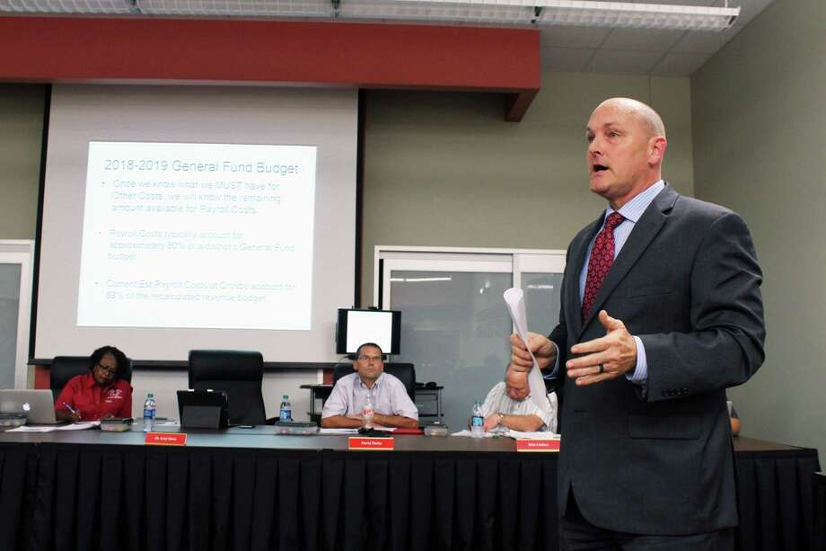 Crosby ISD Superintendent told the Crosby ISD Board of Trustees during the Sept. 17 regular meeting that the only way to save the district from the financial crisis is to conduct a staff analysis and start laying off employees. Photo: Kaila Contreras