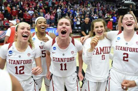 PALO ALTO, CA - MARCH 25: Alanna Smith #11 of the Stanford Cardinal and teammates including, from left, Lexie Hull #12, Maya Dodson #15 and Shannon Coffee #2 celebrate beating the BYU Cougars during the second round of the NCAA Women's Basketball Tournament at Maples Pavilion on March 25, 2019 in Palo Alto, California. (Photo by Cody Glenn/Getty Images)