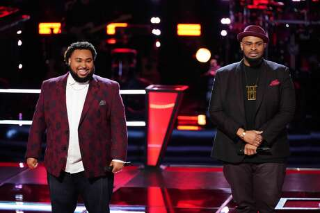 THE VOICE -- Battle Rounds -- Pictured: (l-r) Matthew Johnson, Shawn Sounds -- (Photo by: Tyler Golden/NBC)   Houston teacher Shawn Sounds was victorious during The Voice battle rounds.