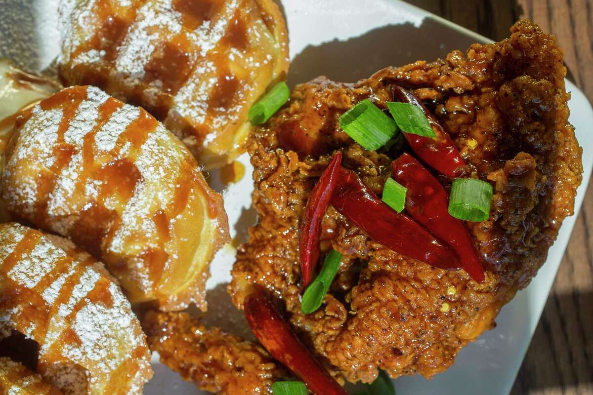 The General Tso's Chicken and Waffles at Taste Bar + Kitchen, 3015 Bagby.