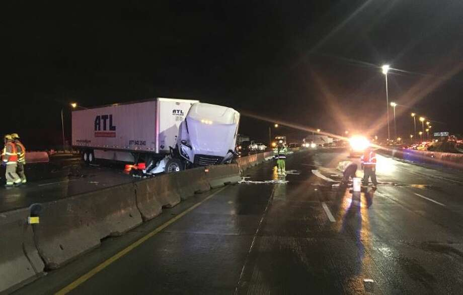 A semi-trailer tractor crashed on Interstate 5 near state Route 16 early Tuesday morning. It was the eighth semi-trailer tractor crash in the area since Sept. 30. Photo: Courtesy WSP