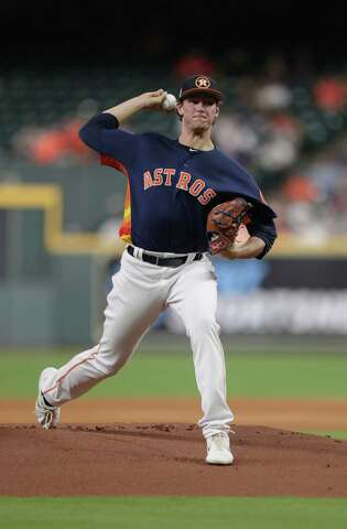 Houston Astros starting pitcher Forrest Whitley (68) pitches during the first inning of a