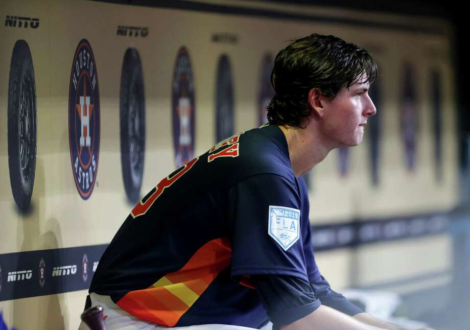 PHOTOS: Astros nicknames on their 2019 Players' Weekend jerseys  Houston Astros starting pitcher Forrest Whitley (68) sits in the dugout during the third inning of a spring training game at Minute Maid Park on Monday, March 25, 2019, in Houston.   >>>See the nicknames for each Houston Astros player on the back of their jerseys for Players' Weekend on Aug. 23-25, 2019 ...   Photo: Jon Shapley, Staff Photographer / © 2019 Houston Chronicle