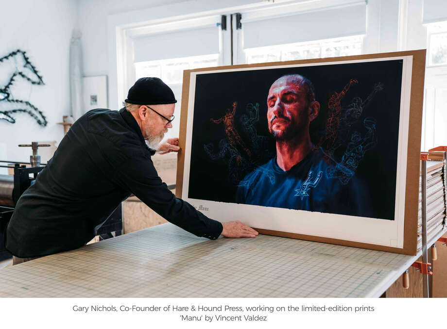 """San Antonio artist Vincent Valdez with his work, titled """"Manu,"""" created and released for the Spurs' legend's jersey retirement.  Click ahead to see how teammates and rival praised Ginobili's career. Photo: Spurs Sports And Entertainment"""