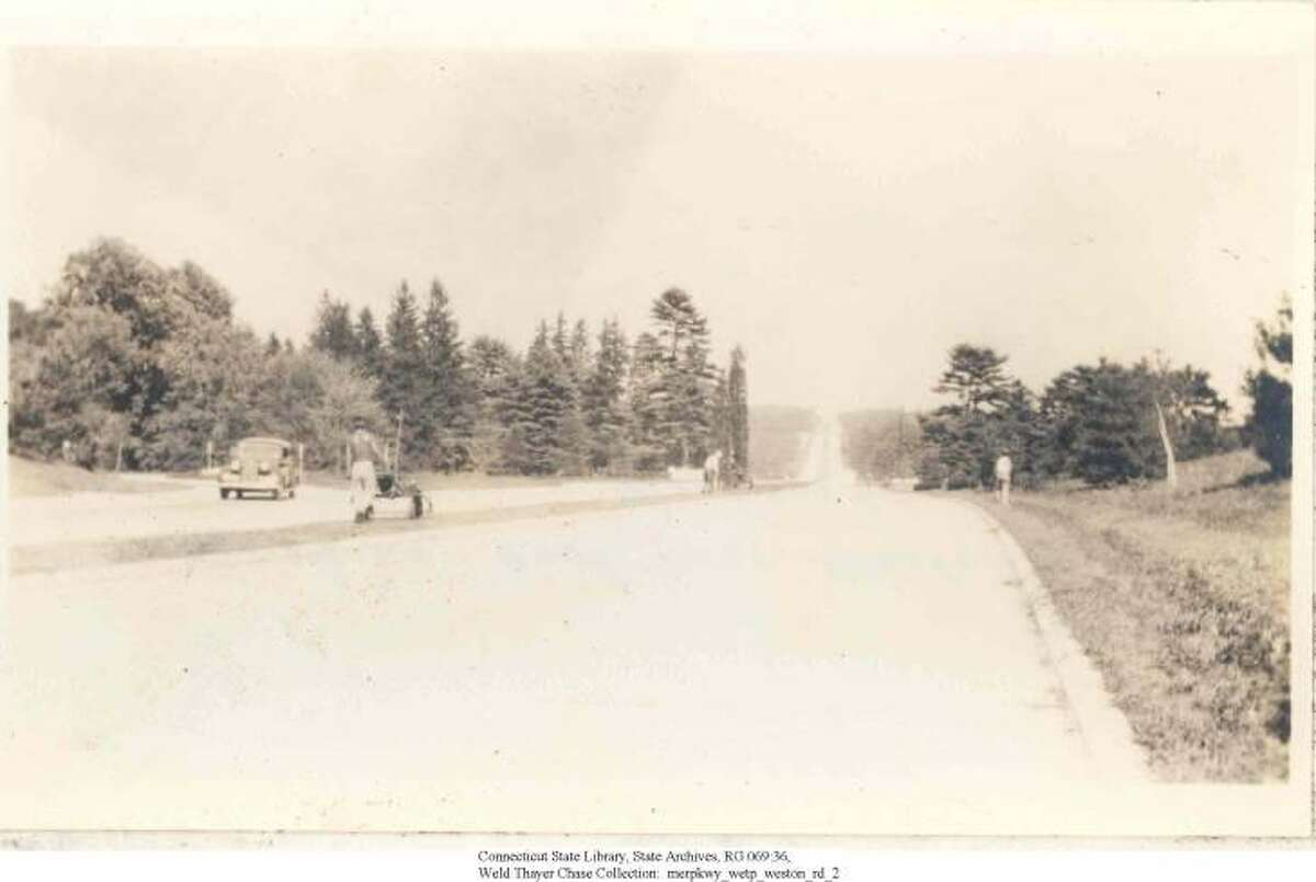 Merritt Parkway looking east over Weston Road Bridge in Westport, in 1939.