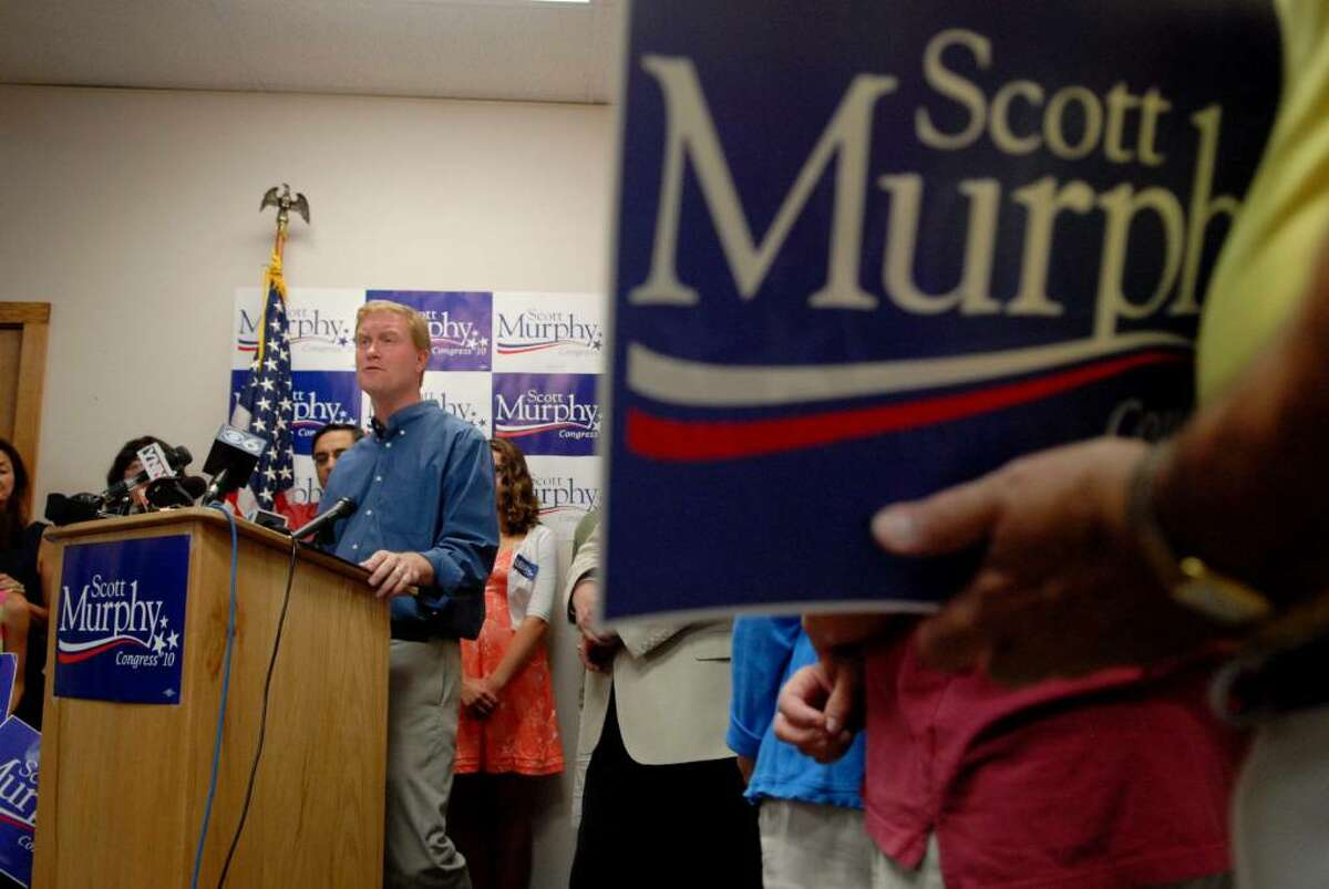 Congressman Scott Murphy addresses supporters during an event at his campaign headquarters in Clifton Park on Sunday, July 25, to officially kick off his reelection campaign. (Paul Buckowski / Times Union)