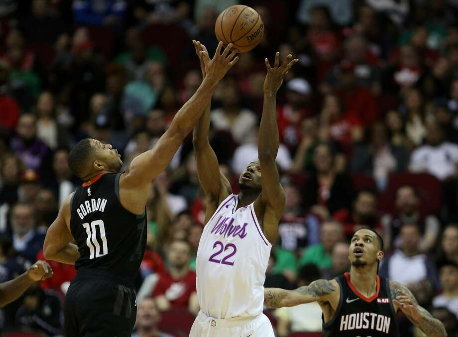 PHOTOS: 2018-19 Rockets game-by-game Houston Rockets guard Eric Gordon (10) knocks a ball loose from Minnesota Timberwolves forward Andrew Wiggins (22) while guard Gerald Green (14) watches during the second quarter of an NBA basketball game at the Toyota Center on Sunday, March 17, 2019, in Houston. >>>See how the Rockets have fared in each game this season ... Photo: Jon Shapley/Staff Photographer