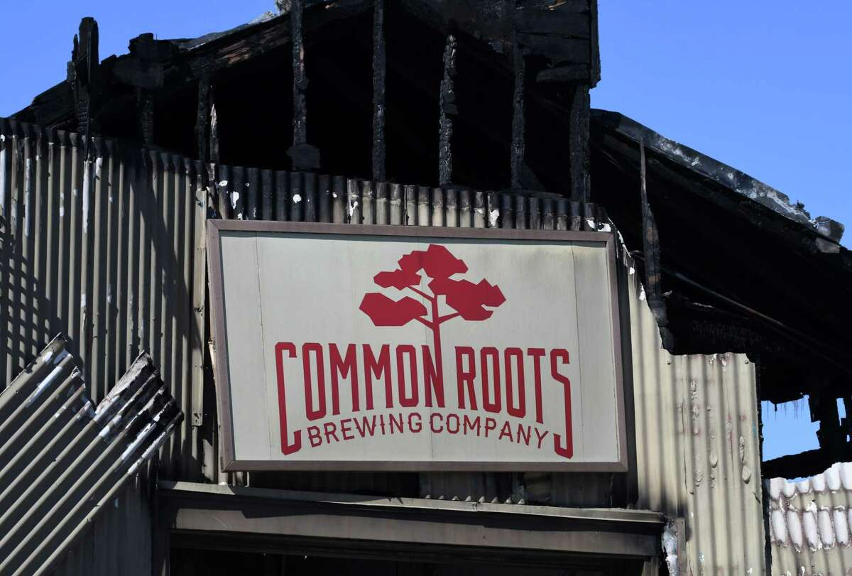 The front section of Commons Roots Brewing Company was destroyed by fire on Tuesday, March 26, 2019, on Saratoga Avenue in South Glens Falls, N.Y. The fire started on Monday night. (Will Waldron/Times Union)