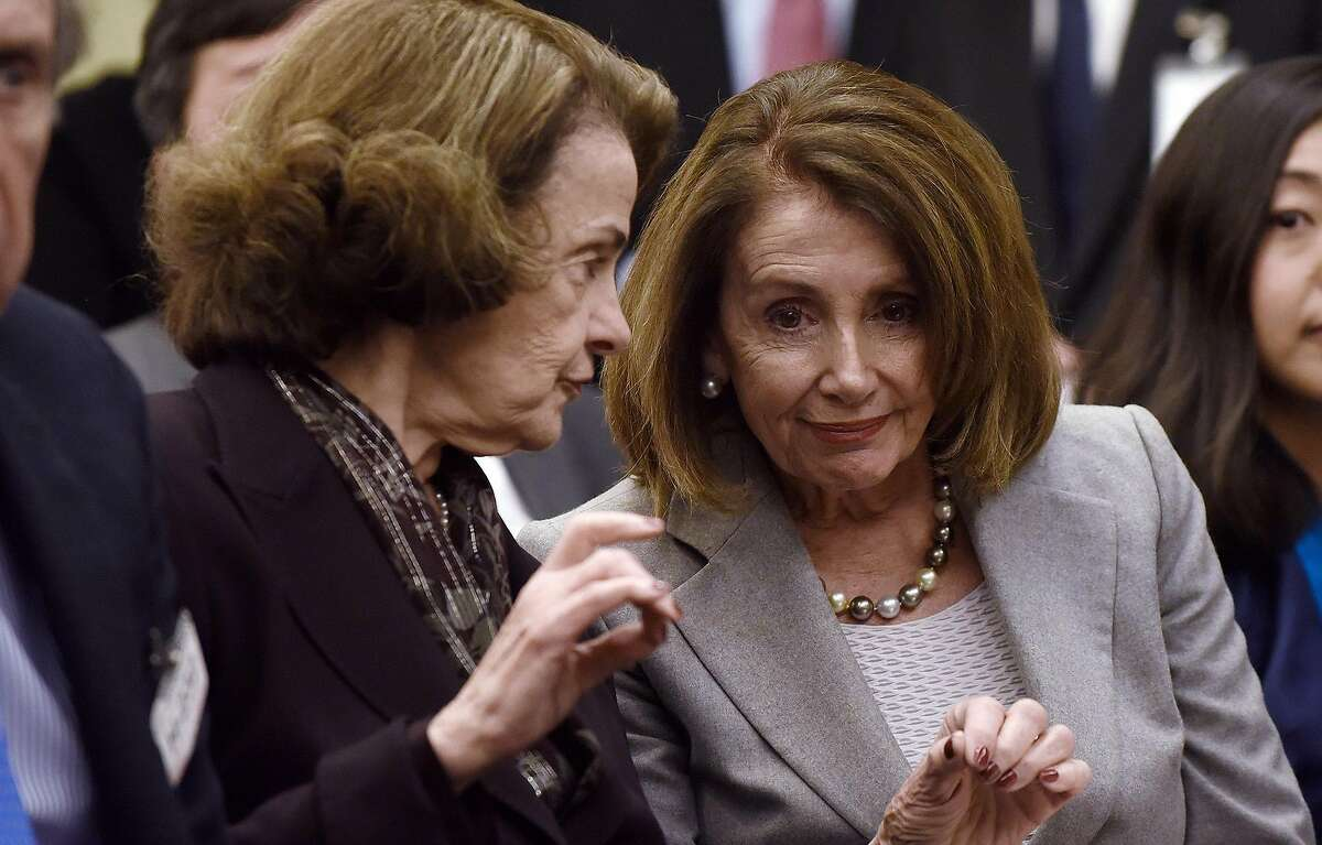 FILE - House Speaker Nancy Pelosi (D-Calif.) and Sen. Dianne Feinstein (D-Calif.) attend an event on Capitol Hill Tuesday, March 12, 2019 in Washington, D.C.