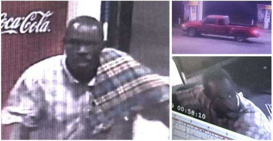 Two men suspected of stealing from Conroe-area convenience stores are seen in these surveillance photos, along with the vehicle they were driving. Photo: Courtesy Of The Montgomery County Sheriff's Office