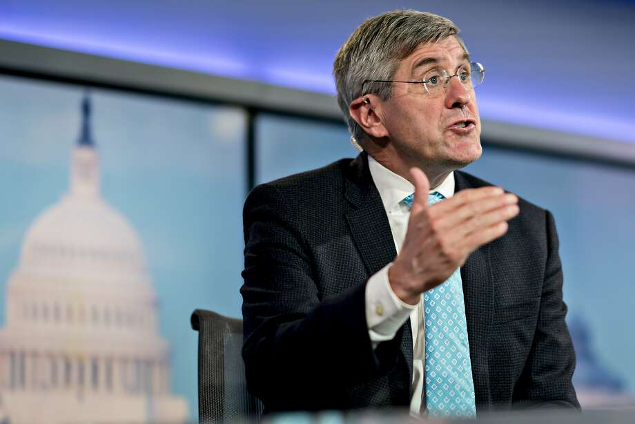FILE - Stephen Moore, visiting fellow at the Heritage Foundation, speaks during a Bloomberg Television interview in Washington, D.C., U.S., on Friday, Mar. 22, 2019. Once nominated by President Donald Trump for the Federal Reserve Board,Moore has withdrawn from contention. Photo: Andrew Harrer, Bloomberg