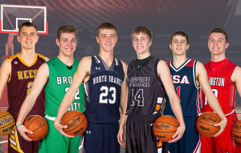 The All-Thumb Boys Basketball First Team is (from left) Player of the Year Gabe Robinson, of Reese, Brown City's Andrew Geiger, North Branch's Riley Bugg, Harbor Beach's Mason Jahn, USA's Micah Cramer and Millington's Ethan Brady.  Photo: Quad N Productions/For The Tribune