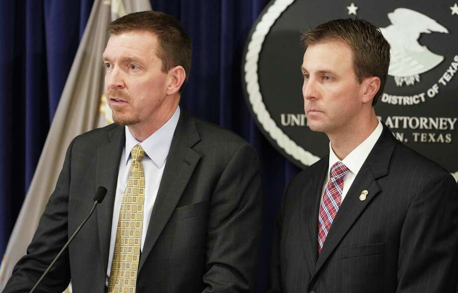 DEA Special Agent in Charge Will R. Glaspy, left, and U.S. Attorney Ryan K. Patrick, right, are shown during a press conference at the U.S. Attorney's Office to announce numerous arrests involving drug trafficking crimes Wednesday, March 20, 2019, in Houston. Photo: Melissa Phillip, Houston Chronicle / Staff Photographer / © 2019 Houston Chronicle