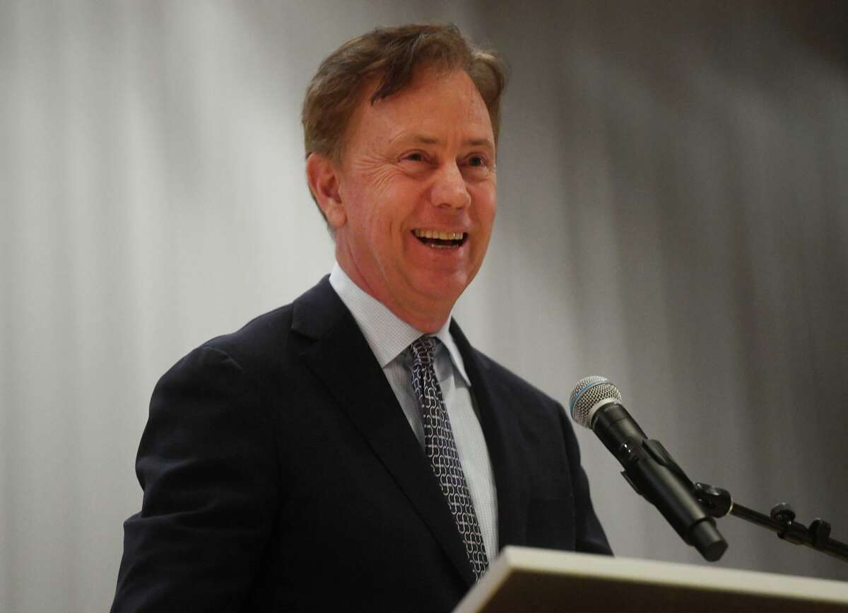 Governor Ned Lamont speaks to students and faculty during a visit to Harding High School in Bridgeport, Conn. on Tuesday, March 26, 2019.