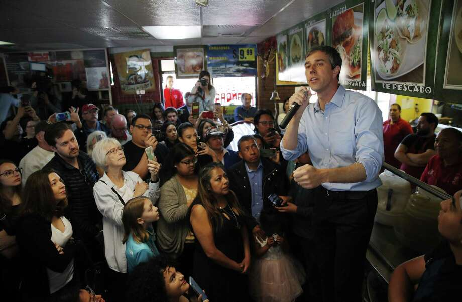 Democratic presidential candidate and former Texas congressman Beto O'Rourke, right, speaks during a campaign stop a restaurant Sunday, March 24, 2019, in Las Vegas. (AP Photo/John Locher) Photo: John Locher, STF / Associated Press / Copyright 2019 The Associated Press. All rights reserved.