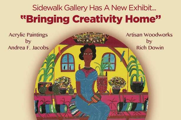 """Norwalk's Sidewalk Gallery at Press Proof Studio, Inc., is exhibiting """"Bringing Creativity Home,"""" featuring the acrylic paintings of Andrea F. Jacobs and wood furnishings of Rich Dowin through April 14."""