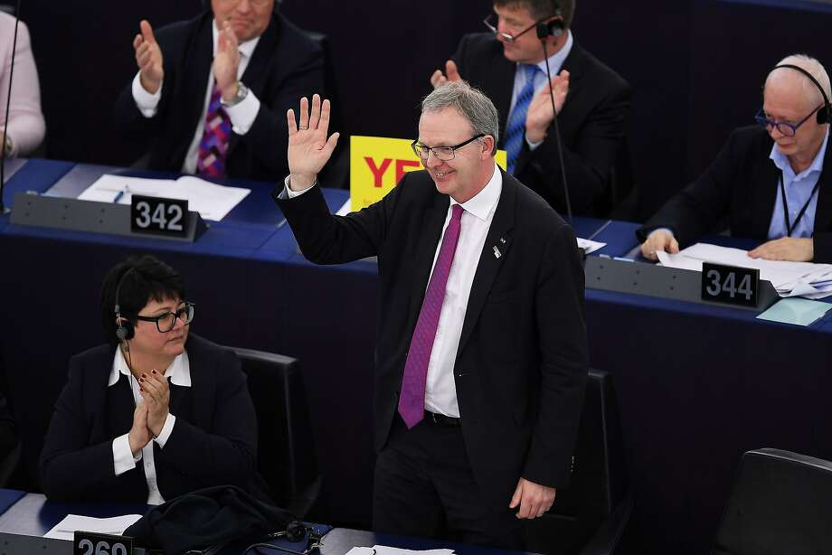 European Parliament member Axel Voss reacts after the vote on expanding copyright protections. Photo: Frederick Florin / AFP / Getty Images