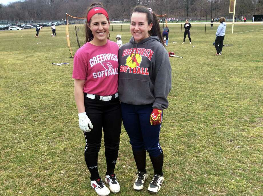 Sophia Prieto, left, and Julie Gambino are senior captains on the Greenwich High School softball team. Photo: David Fierro / Hearst Connecticut Media