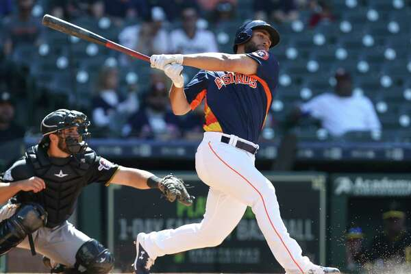 Houston Astros infielder Abraham Toro (83) swings during the bottom ninth inning of the MLB exhibition game against the Pittsburgh Pirates at Minute Maid Park on Tuesday, March 26, 2019, in Houston. The Houston Astros lost to the Pittsburgh Pirates 5-1.