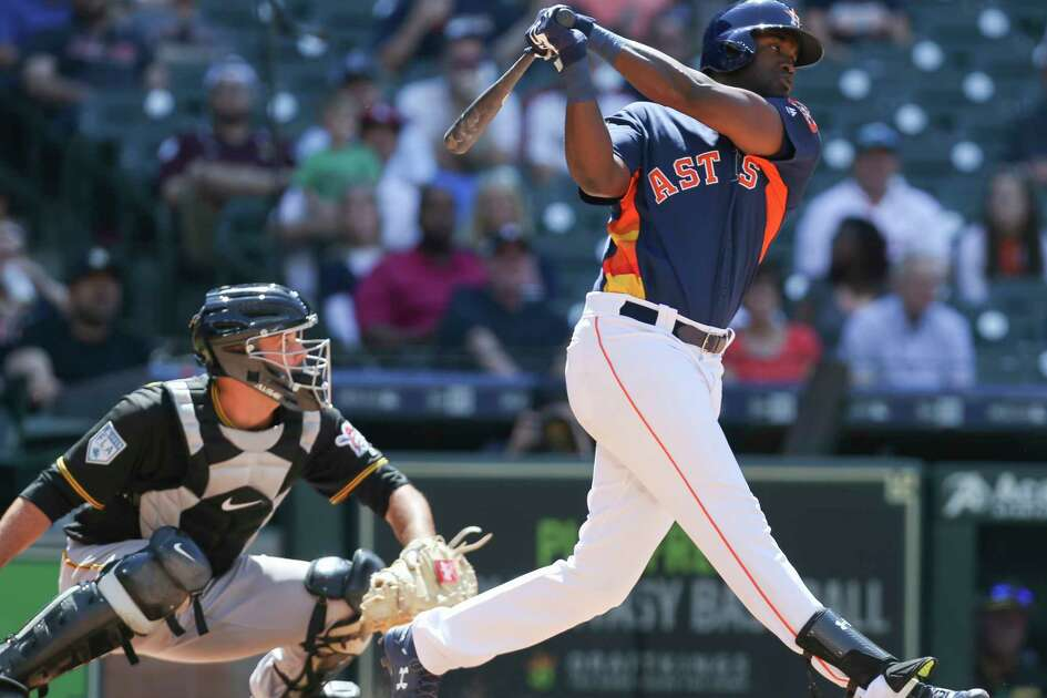 Houston Astros outfielder Yordan Alvarez (72) swings during the bottom seventh inning of the MLB exhibition game against the Pittsburgh Pirates at Minute Maid Park on Tuesday, March 26, 2019, in Houston.