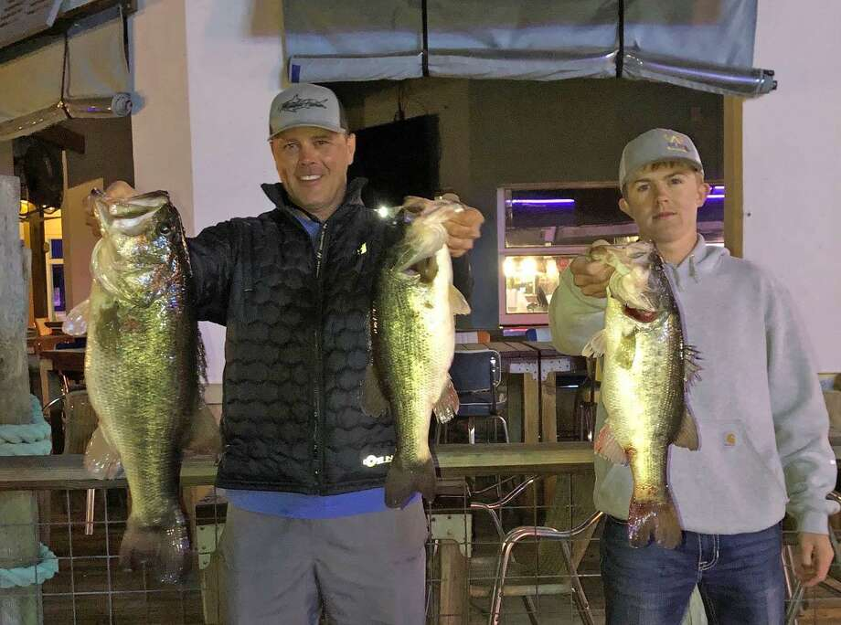 Ronnie Wagner and Dylan Winders won the CONROEBASS Tuesday Tournament with a stringer weighing 19.87 pounds. Photo: Conroe Bass