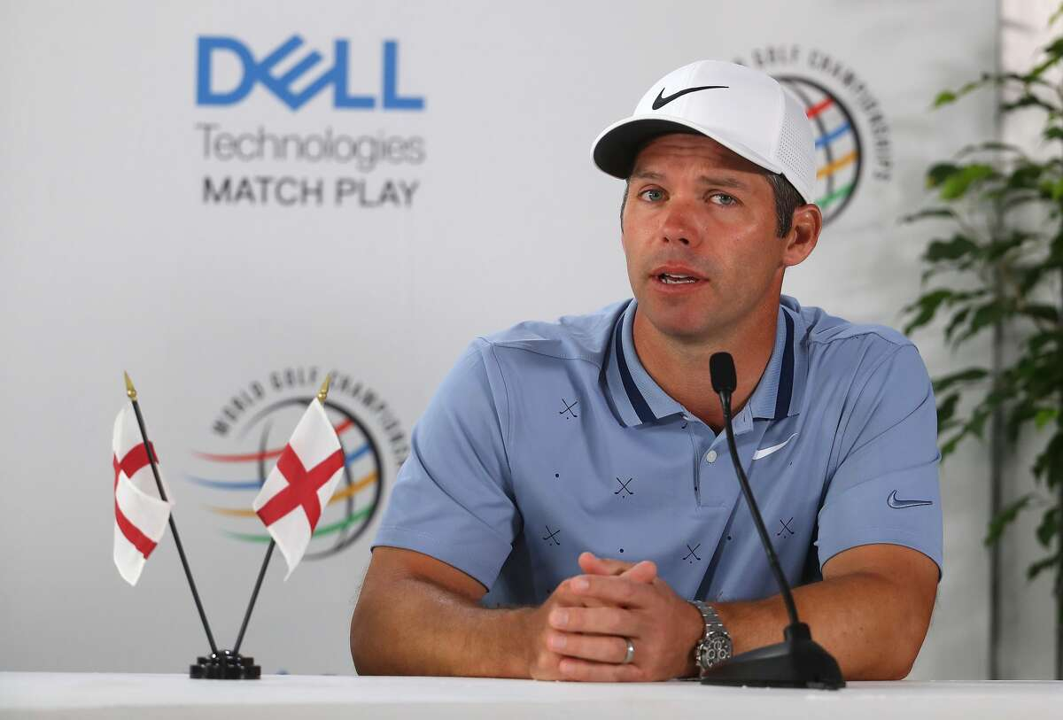 AUSTIN, TEXAS - MARCH 26: Paul Casey of England addresses the media ahead of the WGC Dell Technologies Matchplay on March 26 on March 26, 2019 in Austin, Texas. (Photo by Warren Little/Getty Images)