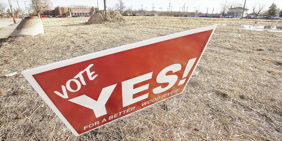 Ironically, a sign promoting a yes vote on a sales tax referendum to help Wood River provide additional public facilities, has been placed on city property that held the Wood River Aquatic Center until it was recently torn down because the city could no longer afford to repair and operate it. Photo: John Badman | The Telegraph