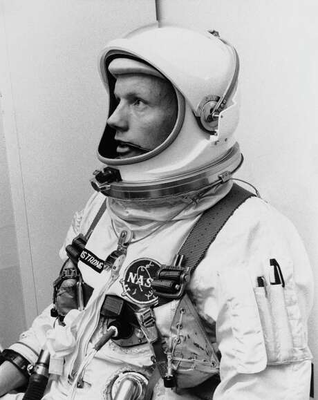 (March 6, 1966) Neil Armstrong is pictured before his Gemini VIII mission, in which he served as the command pilot.