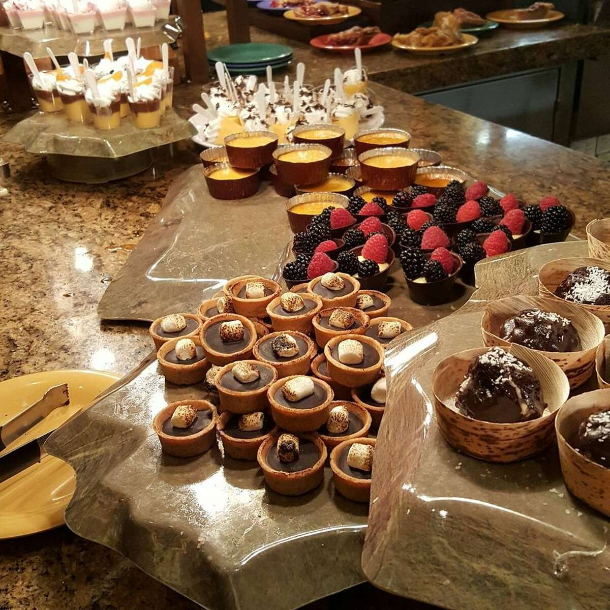 The dessert table at the Harvest Buffet restaurant at Cache Creek Casino.
