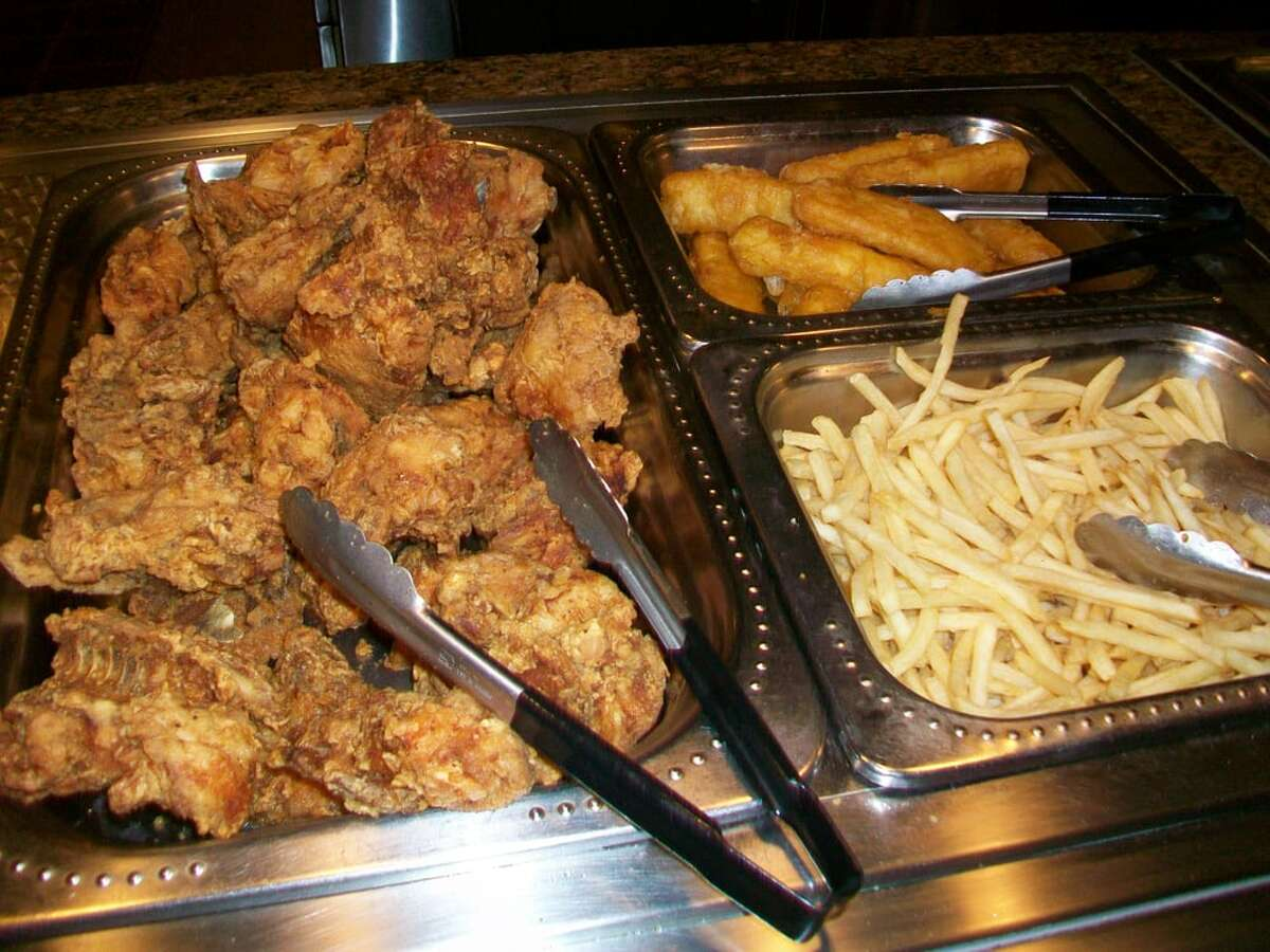 Fried chicken and fish-and-chips at the Harvest Buffet restaurant at Cache Creek Casino.