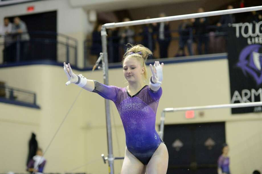 Kathryn Doran of the Bridgeport gymnastics team had the best score in the uneven parallel bars at the USA Gymnastics national championships. Photo: Submitted Photo