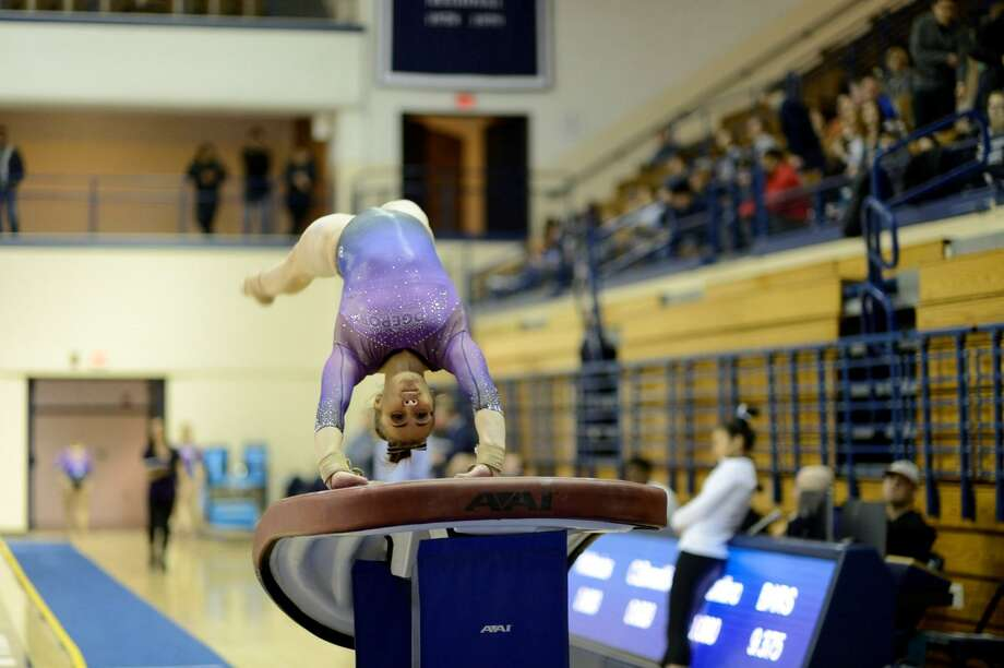 Bridgeport's Julianna Roland tied for the best score in the vault in qualifying for the USA Gymnastic national championship event finals. Photo: Submitted Photo