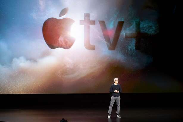 Apple CEO Tim Cook speaks during an event launching Apple tv+ at Apple headquarters on March 25, 2019, in Cupertino, California. (Photo by NOAH BERGER / AFP)NOAH BERGER/AFP/Getty Images