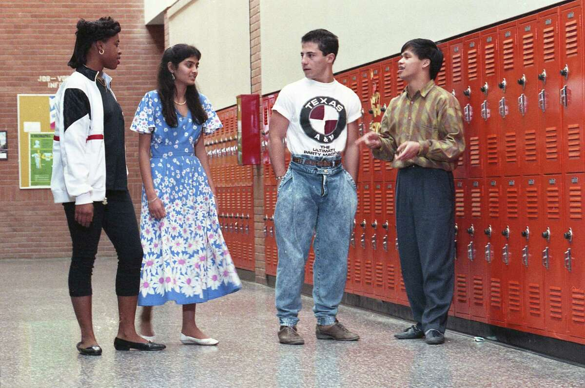 Alief-Hastings students Natasha Richards, left, Parul Mehta, John Koutani and Chinh Nguyen, March 6, 1989.