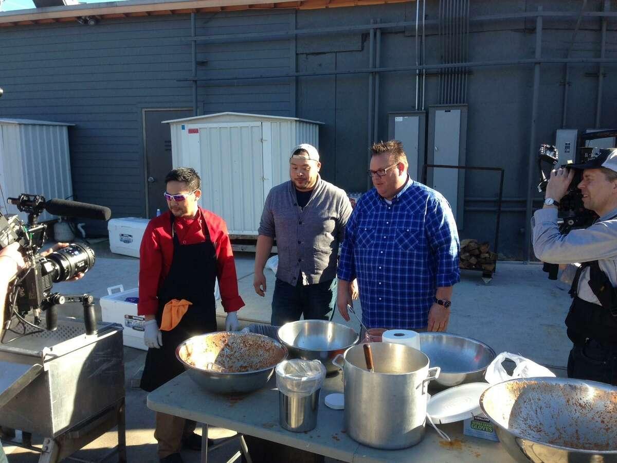 David Chang, center, the chef/founder of Momofuku restaurant group, filmed an episode of his Nextflix show