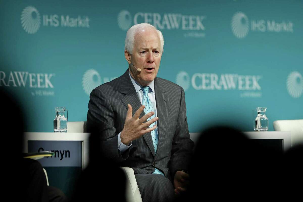 Sen. John Cornyn, a Republican from Texas, speaks during the 2019 CERAWeek by IHS Markit conference in Houston.