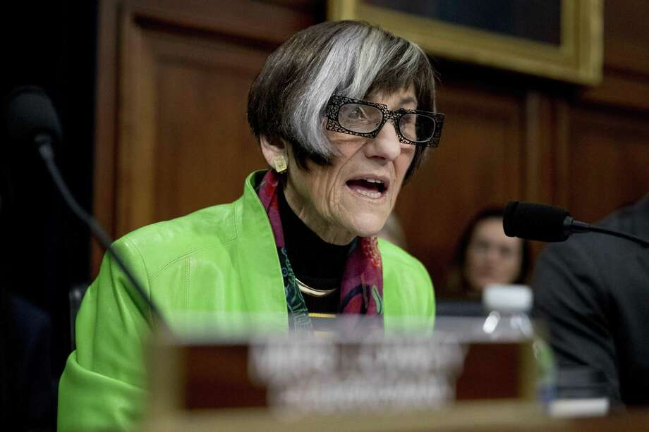 Rep. Rosa DeLauro, D-Conn., speaks as Education Secretary Betsy DeVos appears before a House Appropriations subcommittee hearing on budget on Capitol Hill in Washington, Tuesday, March 26, 2019. Photo: Andrew Harnik / Associated Press / Copyright 2019 The Associated Press. All rights reserved