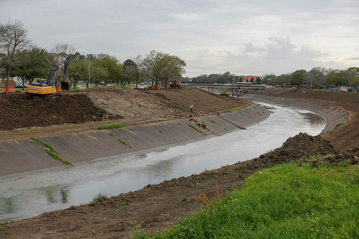 Flood control work along Brays Bayou at Hillcroft Ave and Braeswood Blvd., shown here Monday, Feb. 25, 2019, in Houston.