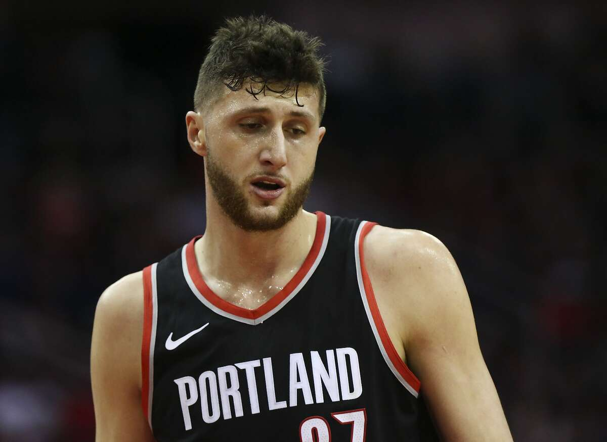 Portland Trail Blazers center Jusuf Nurkic (27) got into an altercation with Houston Rockets forward PJ Tucker (4) during the third quarter of the NBA game at Toyota Center on Wednesday, Jan. 10, 2018, in Houston. ( Yi-Chin Lee / Houston Chronicle )