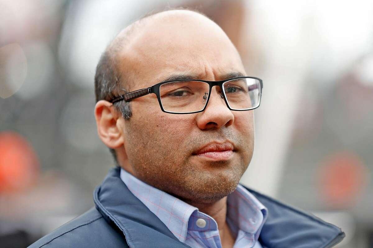 Farhan Zaidi, San Francisco Giants' President of Baseball Operations, at Oracle Park in San Francisco.