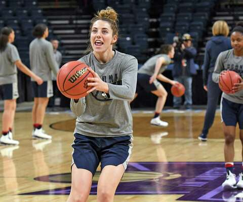 47367ec4ed03 UConn s Katie Lou Samuelson on the court during their NCAA Women s  Basketball regional practice at the
