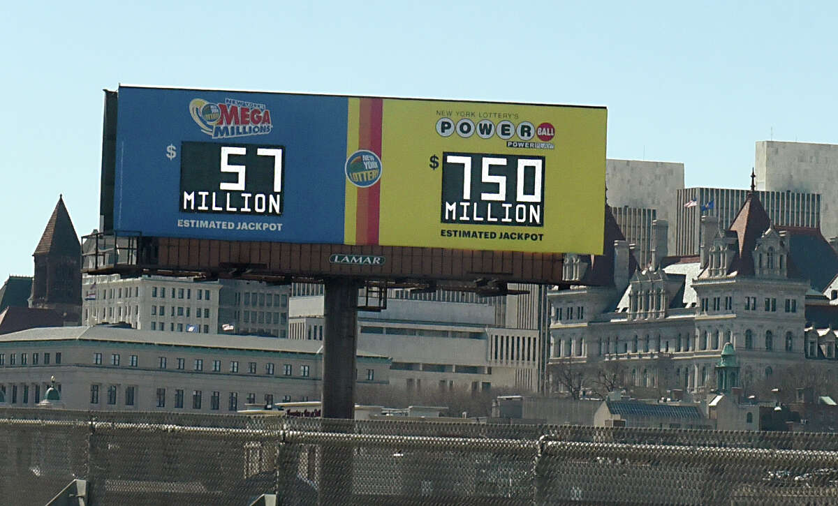 A billboard seen from I-787 displays the grand prize amount of $750 million for the Powerball lottery on Tuesday, March 26, 2019, in Albany, N.Y. (Lori Van Buren/Times Union)