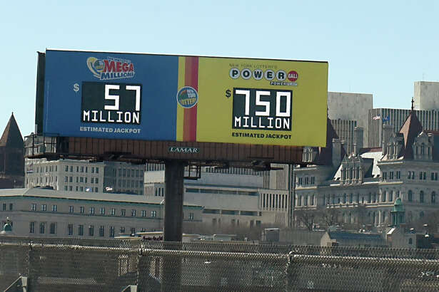 A billboard seen from I-787 displays the grand prize amount of $750 million for the Powerball lottery on Tuesday, March 26, 2019 in Albany, N.Y. (Lori Van Buren/Times Union)