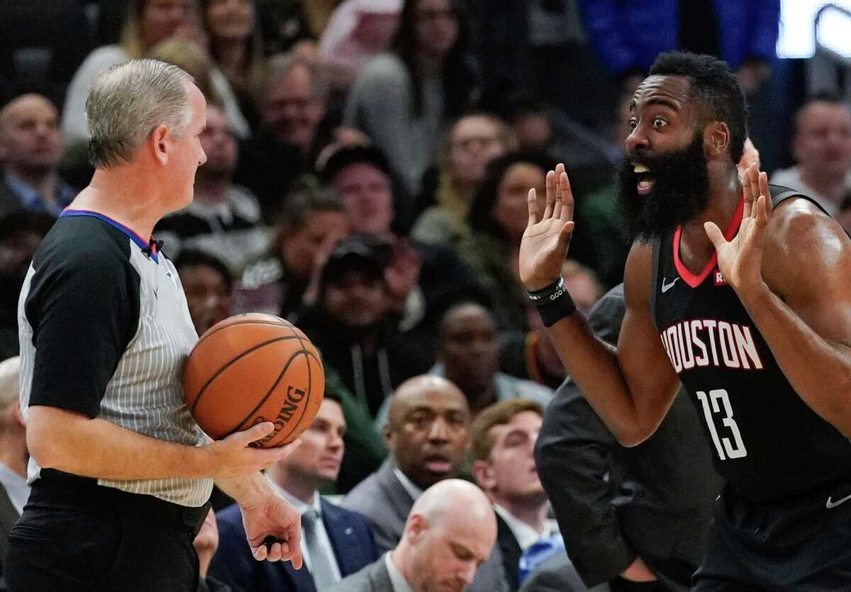Houston Rockets' James Harden reacts to a call during the first half of an NBA basketball game against the Milwaukee BucksTuesday, March 26, 2019, in Milwaukee. (AP Photo/Morry Gash)